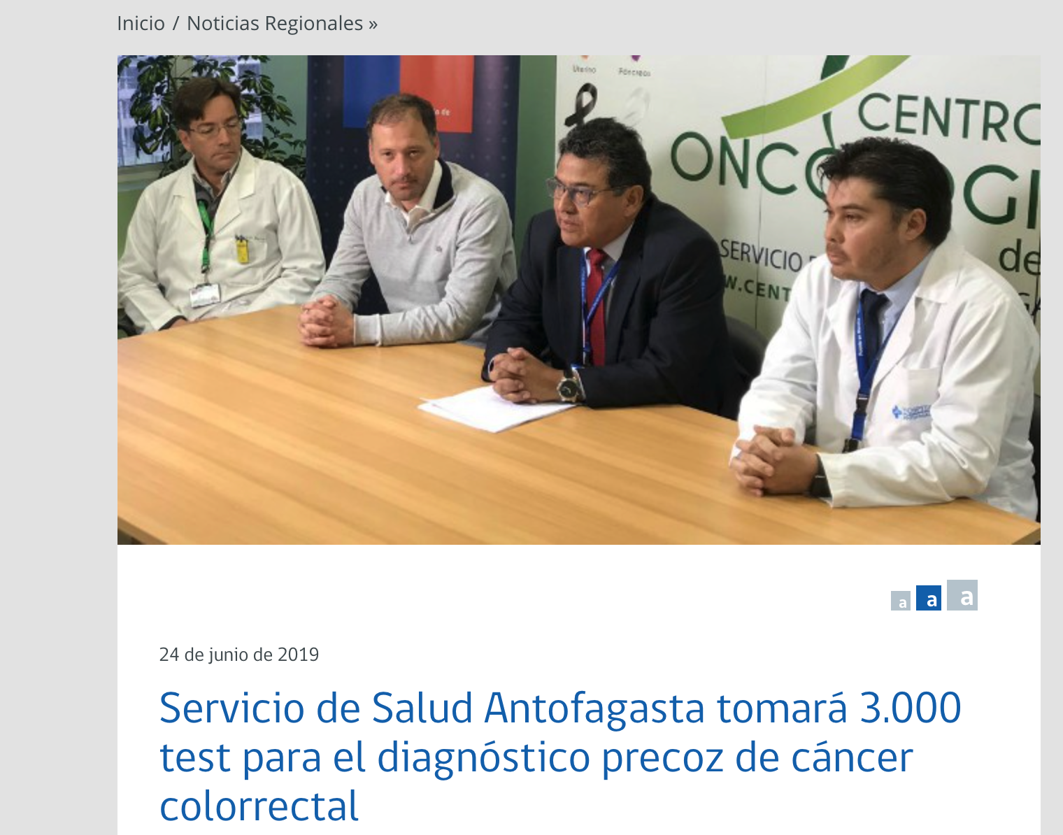 Servicio de Salud Antofagasta tomará 3.000 test para el diagnóstico precoz de cáncer colorrectal