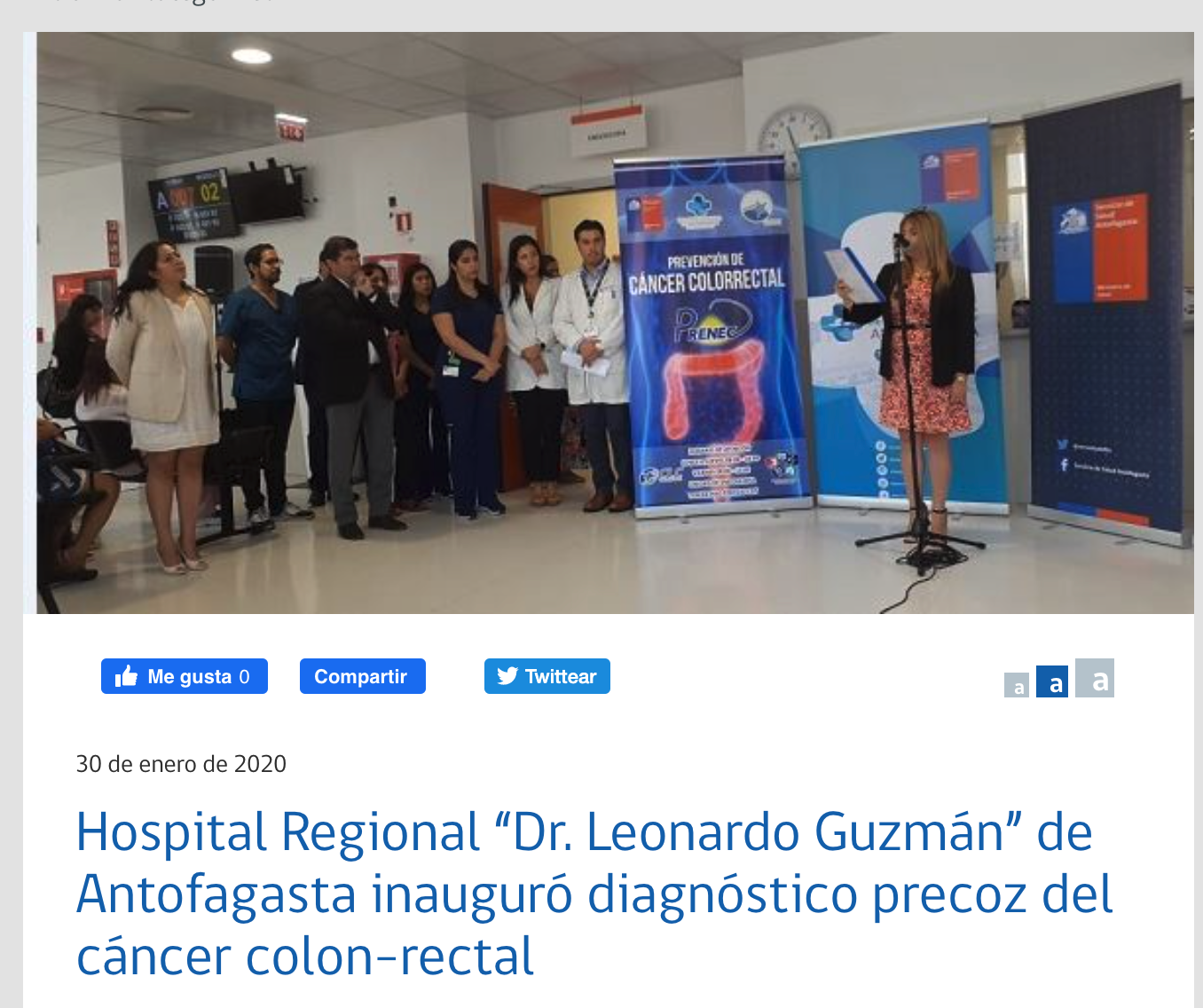 "Hospital Regional ""Dr. Leonardo Guzmán"" de Antofagasta inauguró diagnóstico precoz del cáncer colon-rectal"
